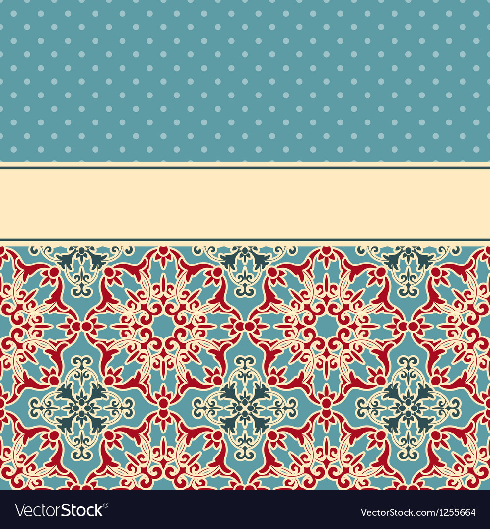 Card with seamless floral wallpaper pattern vector | Price: 1 Credit (USD $1)