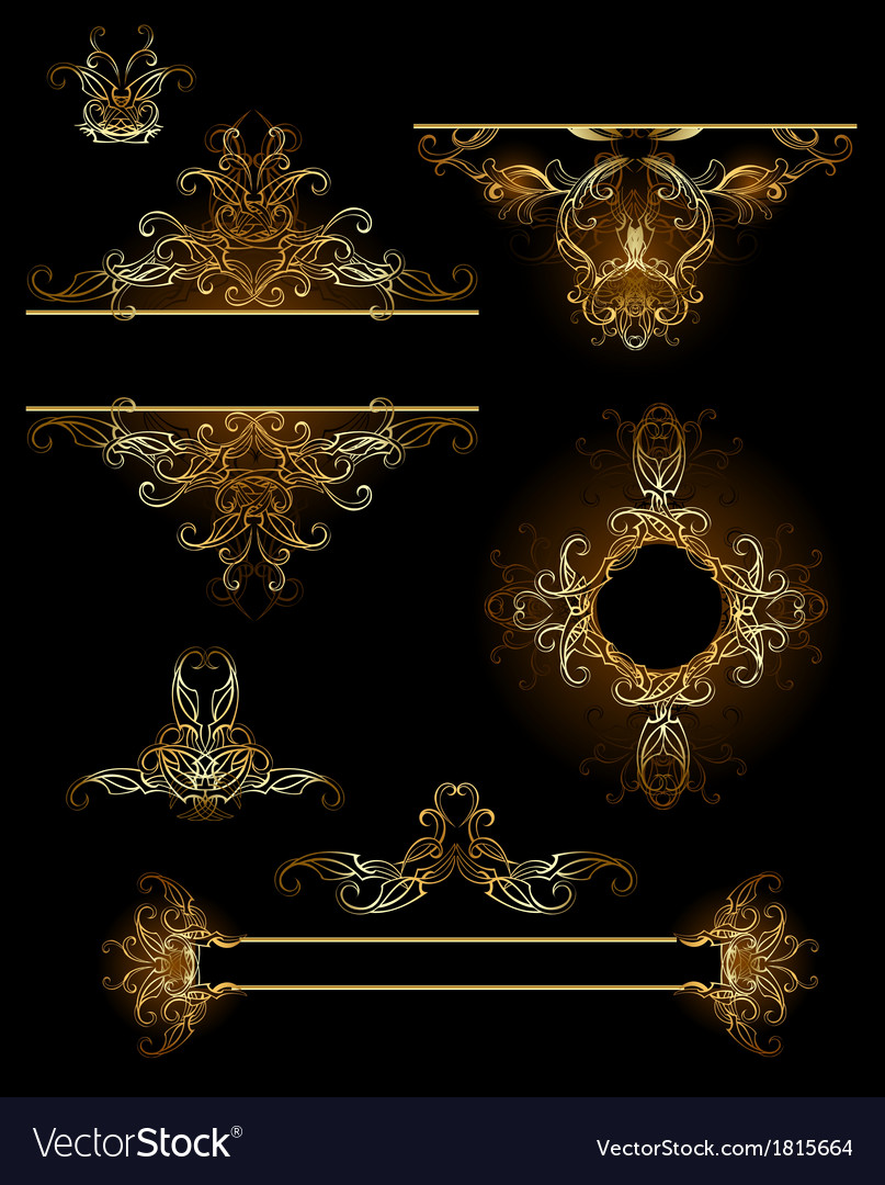 Design elements in gold vector | Price: 1 Credit (USD $1)