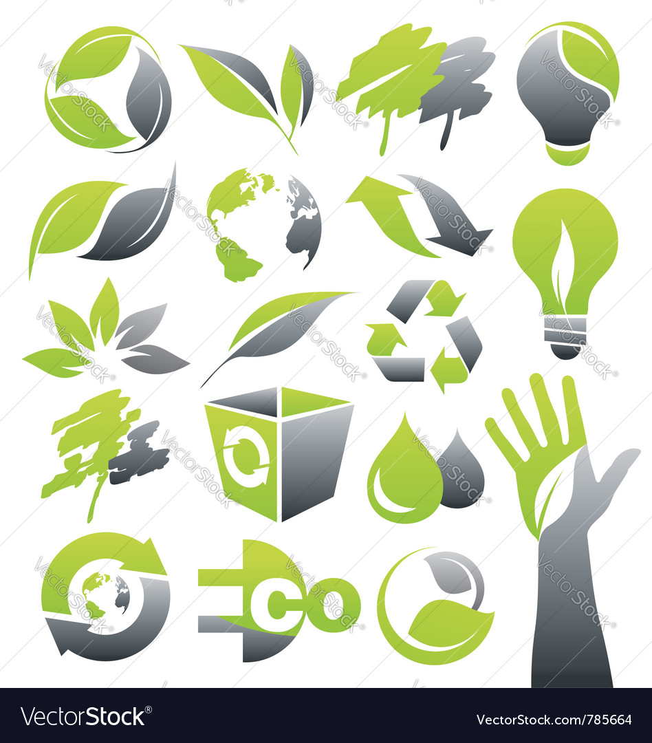 Ecology green icons vector | Price: 3 Credit (USD $3)