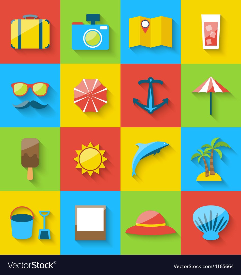 Flat icons of holiday journey summer pictogram sea vector | Price: 1 Credit (USD $1)