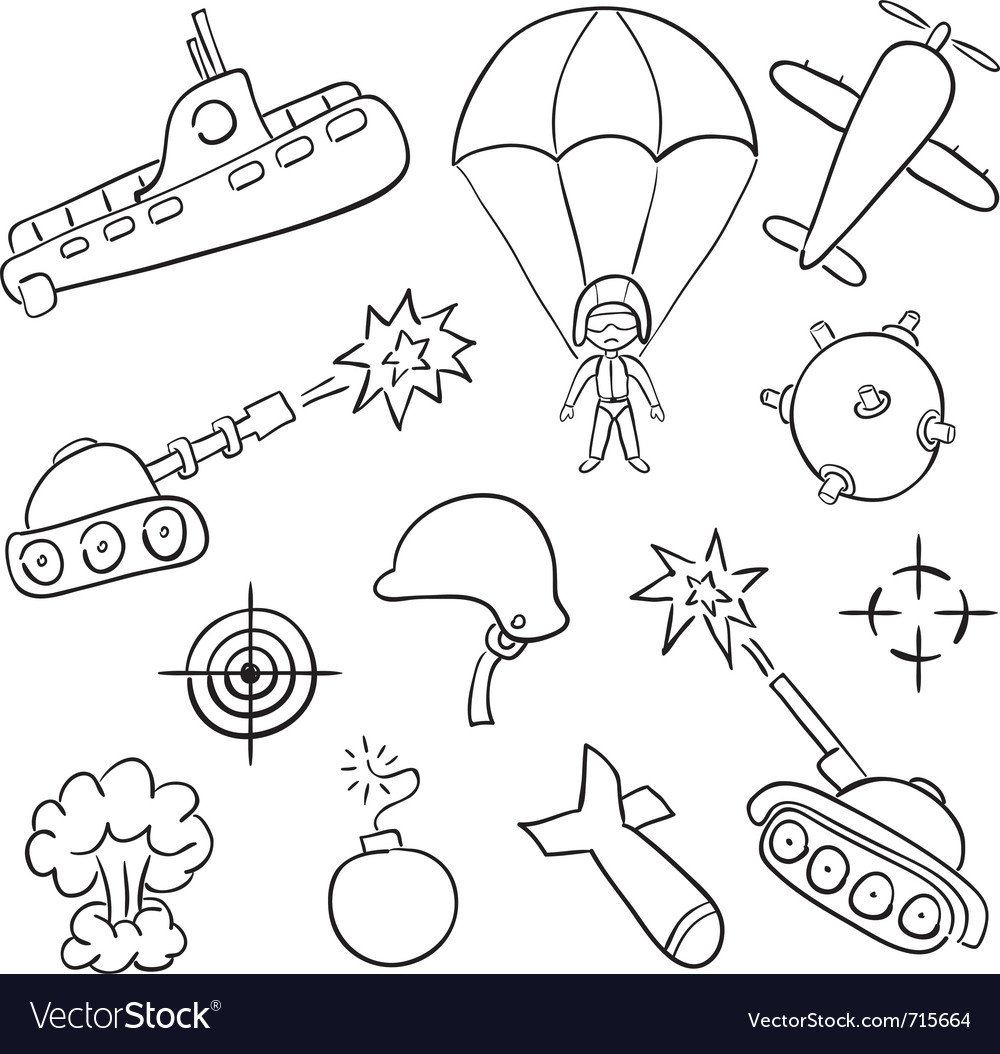 Hand-drawn doodles on the war themes vector | Price: 1 Credit (USD $1)