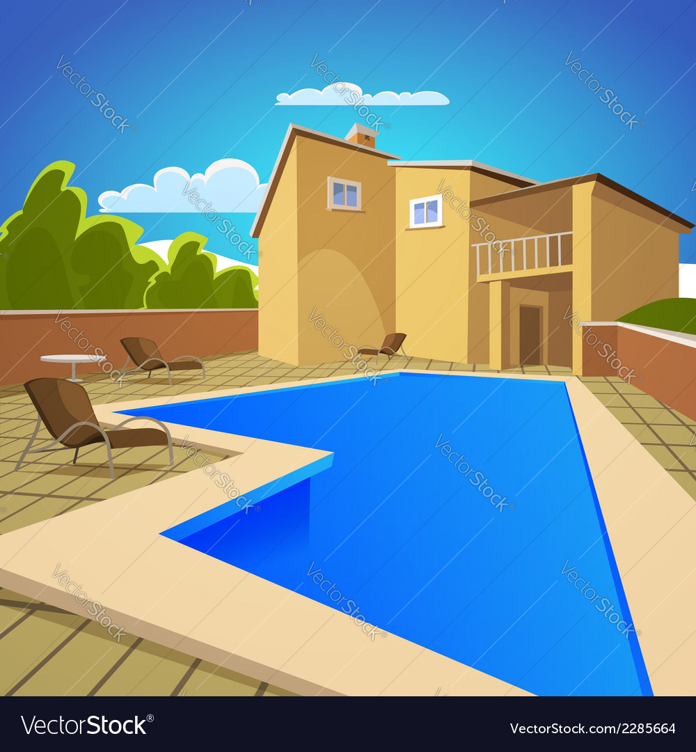 House with swimming pool vector | Price: 3 Credit (USD $3)