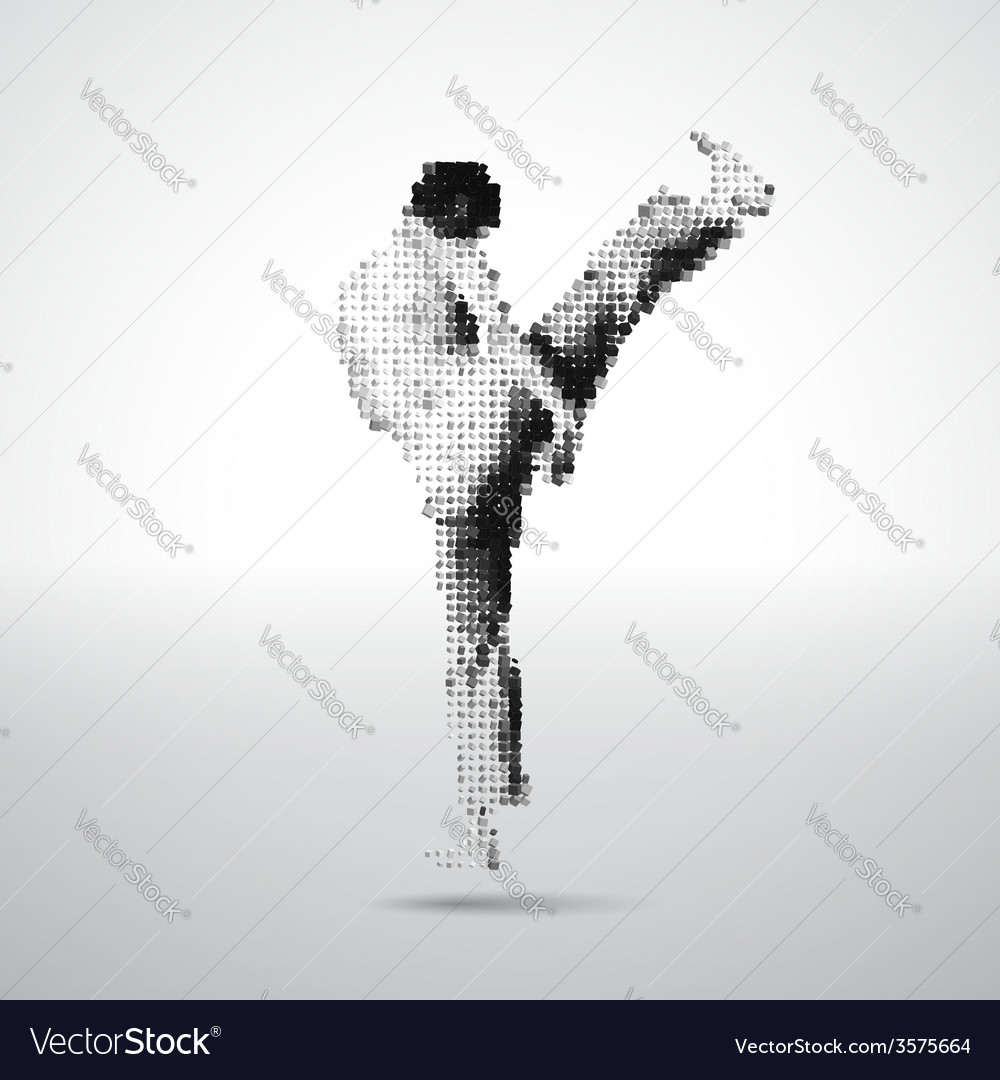 Mosaic sportsman made of cubes vector | Price: 1 Credit (USD $1)