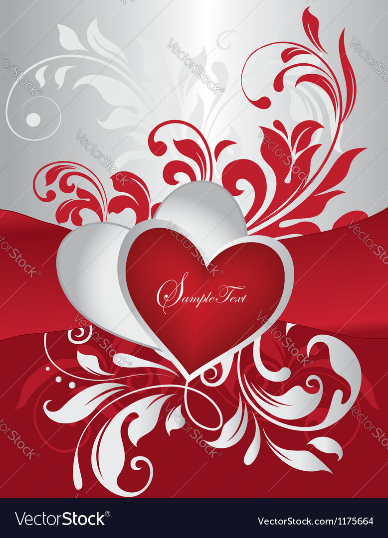 Red and silver valentines day card vector | Price: 1 Credit (USD $1)