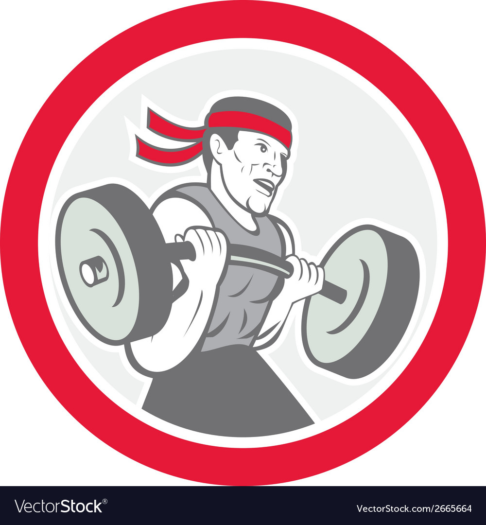 Weightlifter lifting barbell circle cartoon vector | Price: 1 Credit (USD $1)