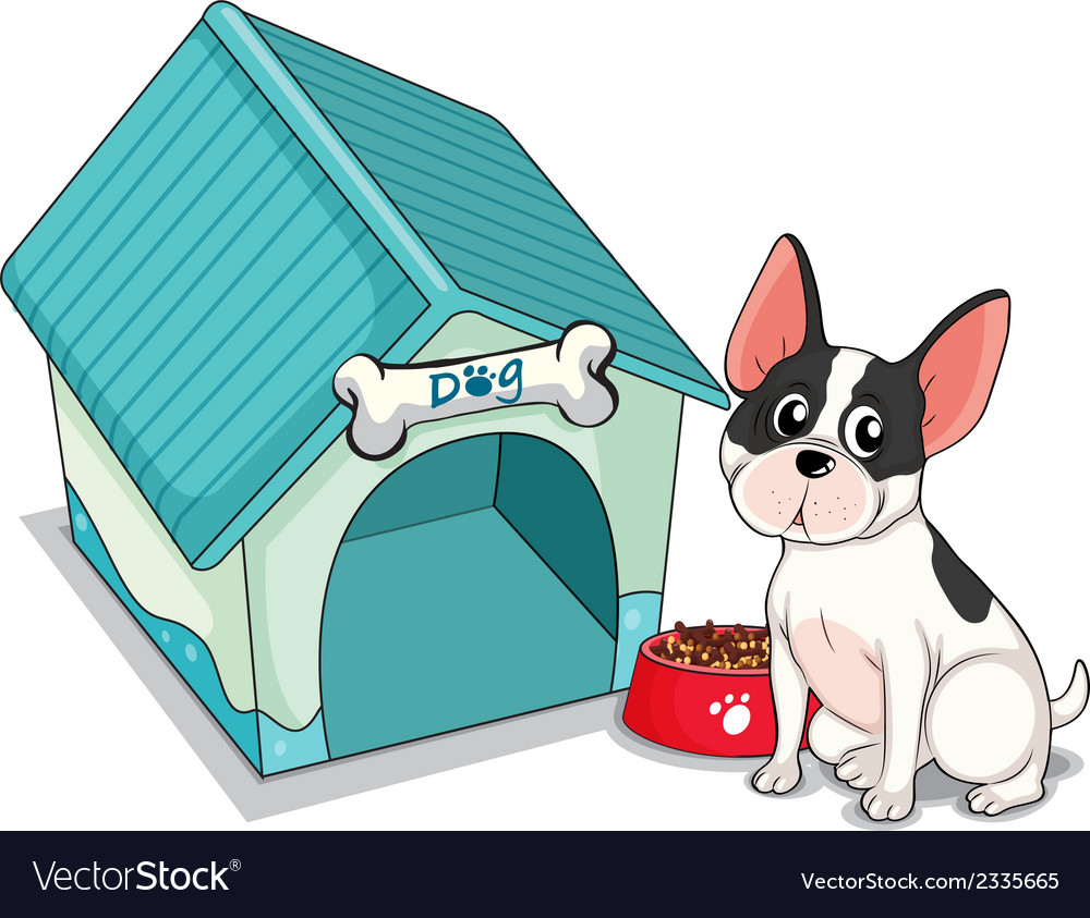 A dog sitting in front of the blue doghouse vector | Price: 1 Credit (USD $1)