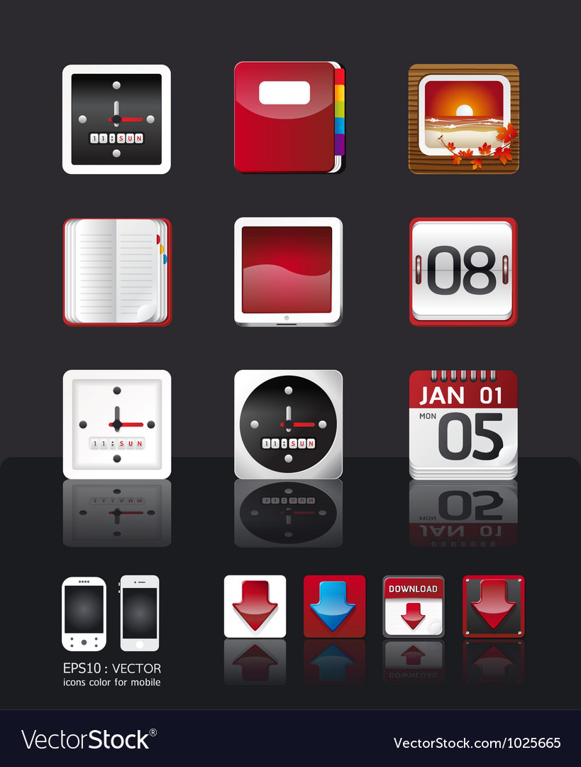 Apps icon set tablet mobile phone apps vector | Price: 3 Credit (USD $3)