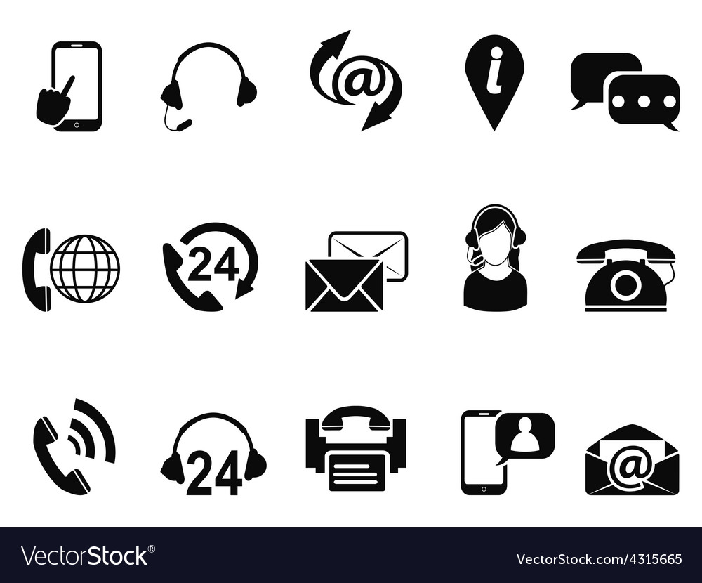 Black contact us service icons set vector | Price: 1 Credit (USD $1)