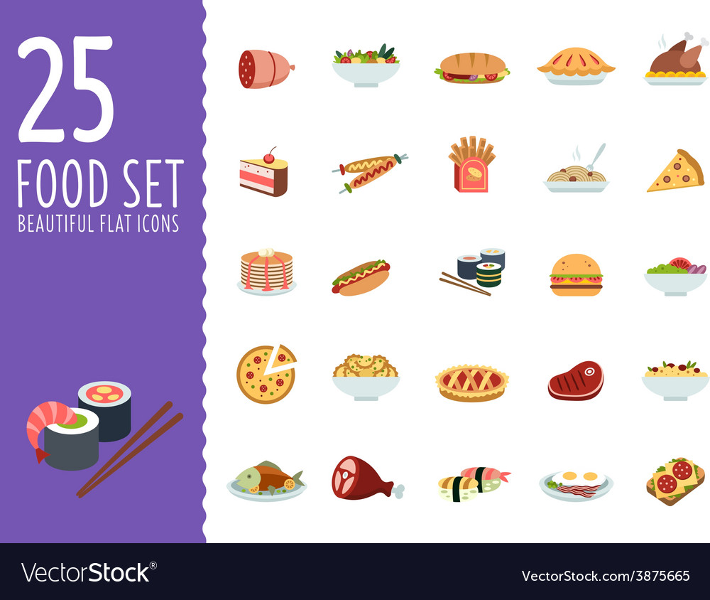 Collection of food icons in flat design style vector | Price: 1 Credit (USD $1)