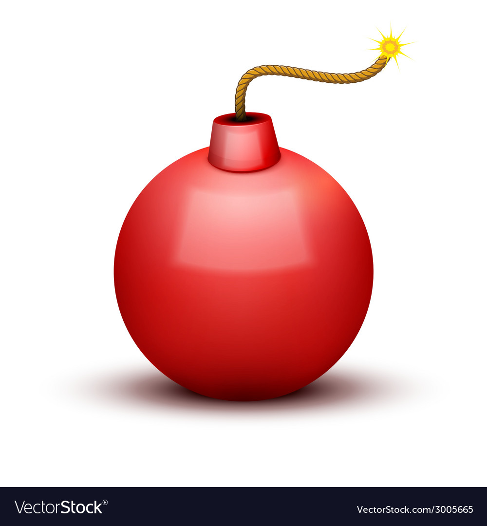 Red bomb about to blast with burning wick vector | Price: 1 Credit (USD $1)