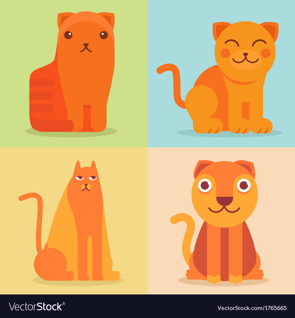 Set of flat cat icons and vector | Price: 1 Credit (USD $1)
