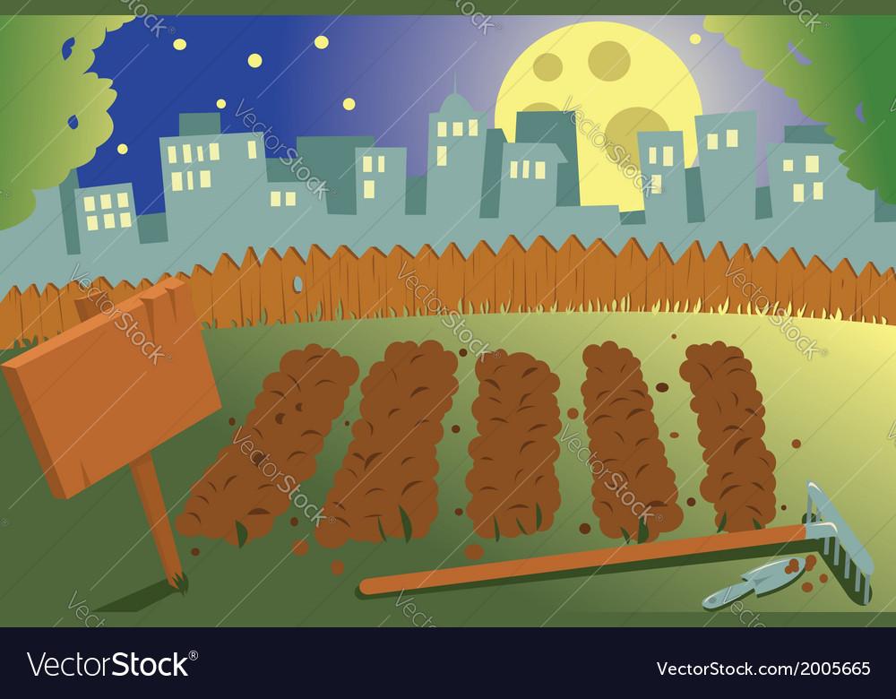 Vegetable garden by night vector | Price: 1 Credit (USD $1)