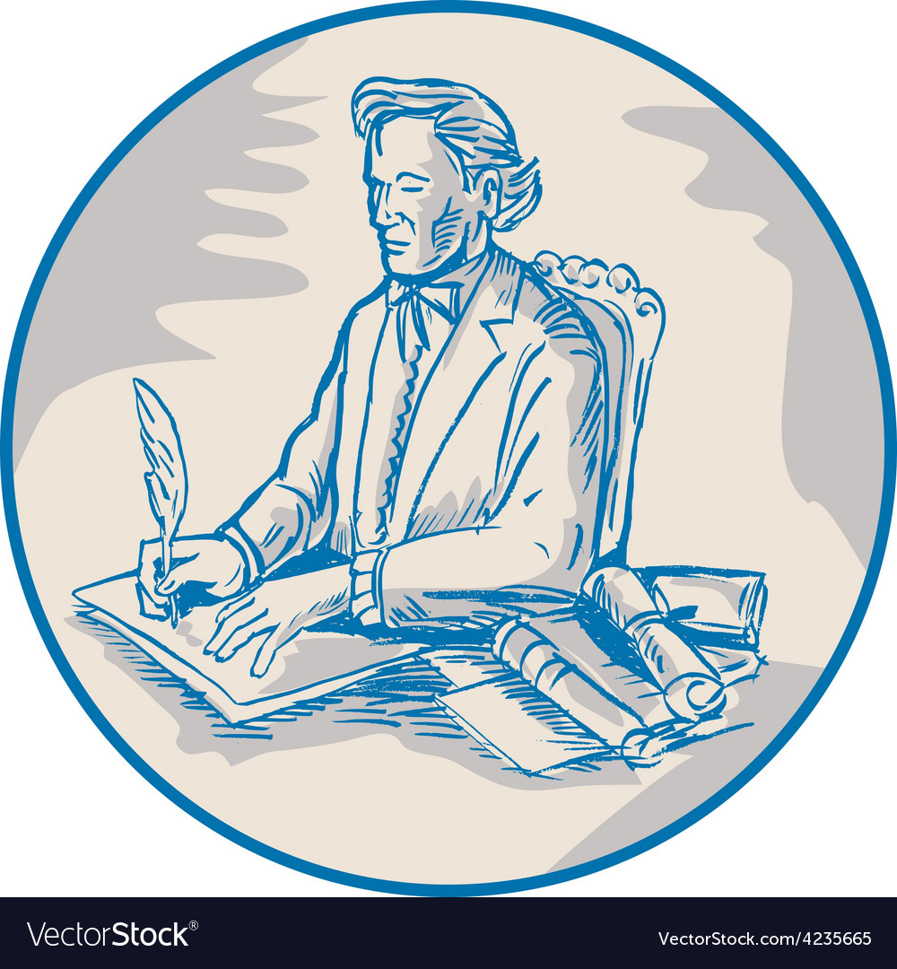 Victorian gentleman quill signing cartoon vector | Price: 1 Credit (USD $1)