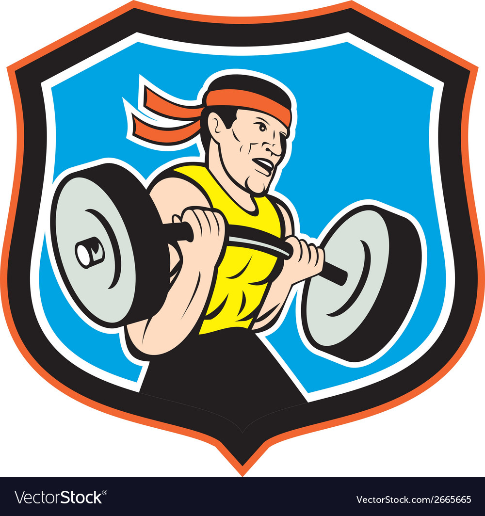 Weightlifter lifting barbell shield cartoon vector | Price: 1 Credit (USD $1)
