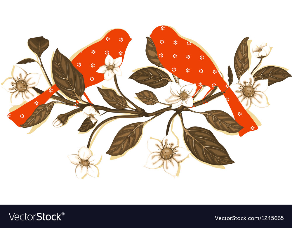 White flowers and red birds on twig composition vector | Price: 1 Credit (USD $1)