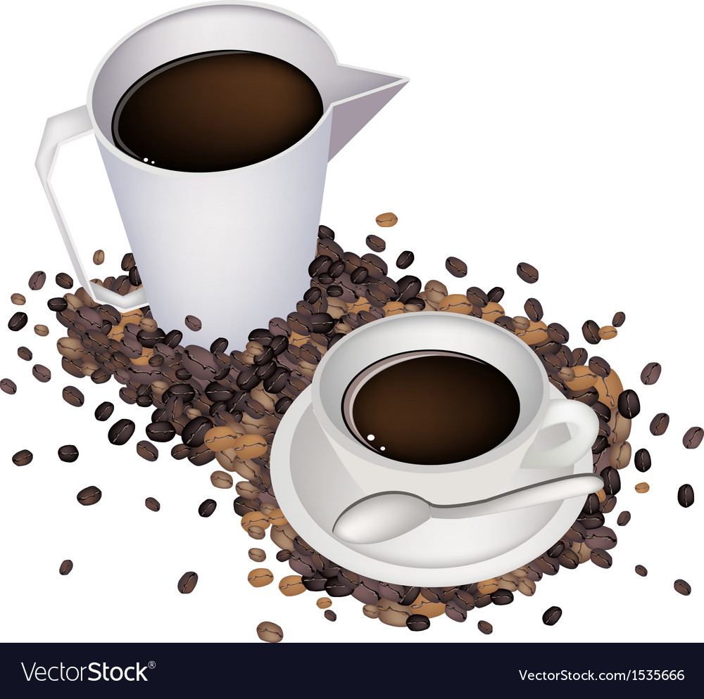 A delicious hot coffee with measure cup vector | Price: 1 Credit (USD $1)