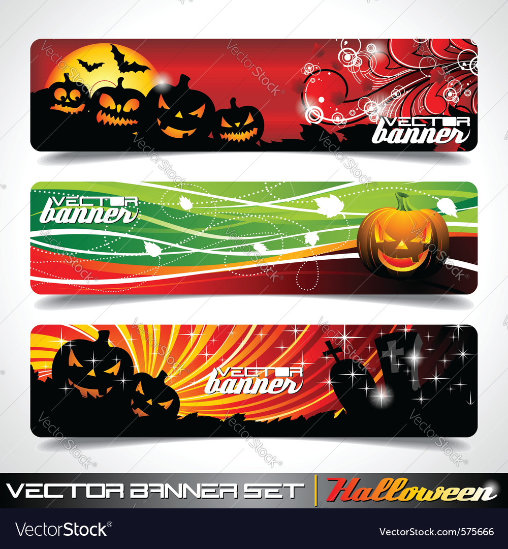Banner set on a halloween theme vector | Price: 3 Credit (USD $3)