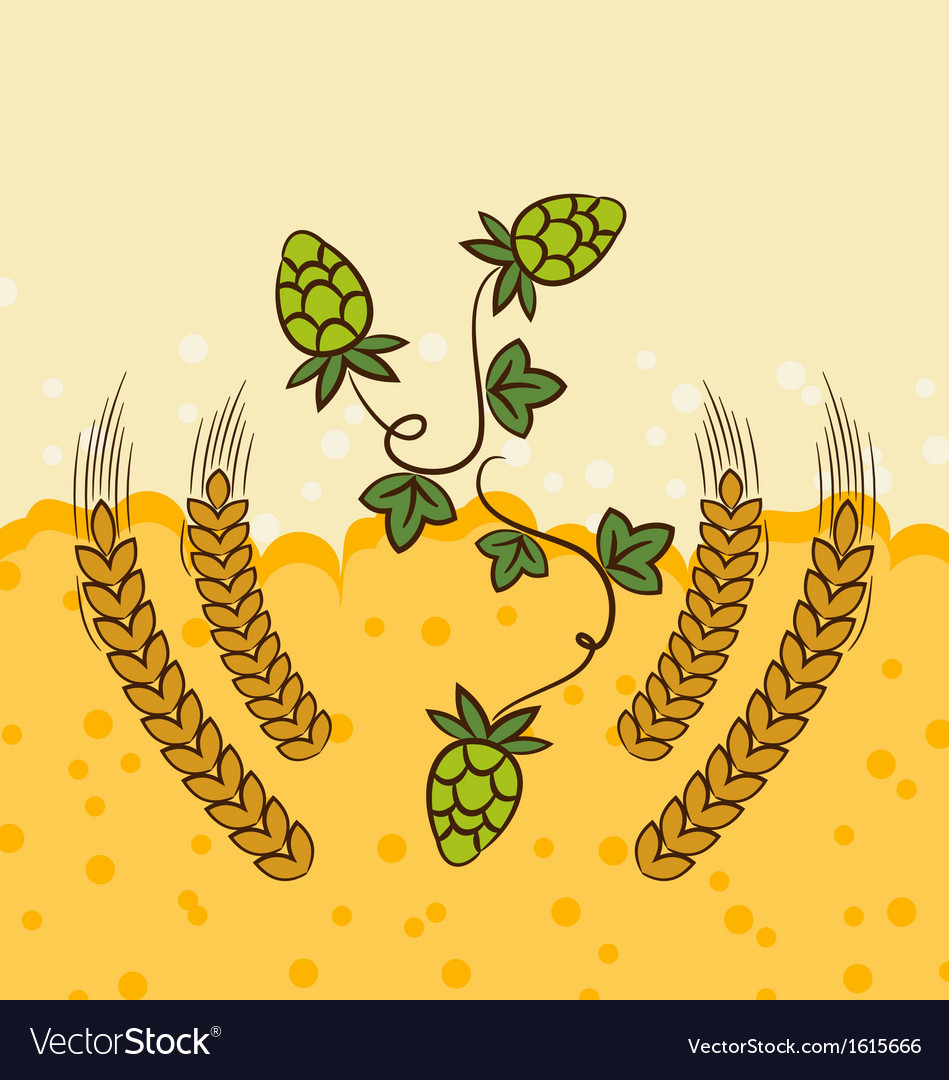 Beer background with hop leaves and wheats vector | Price: 1 Credit (USD $1)
