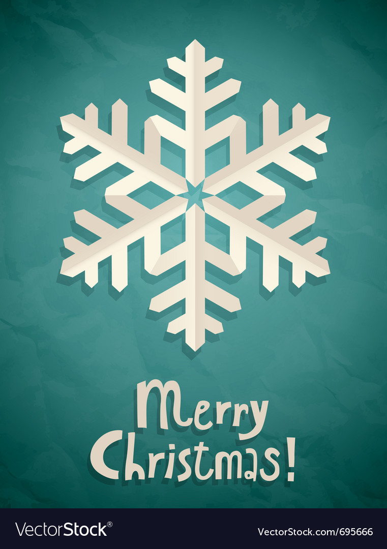 Christmas postcard with snowflake vector | Price: 1 Credit (USD $1)