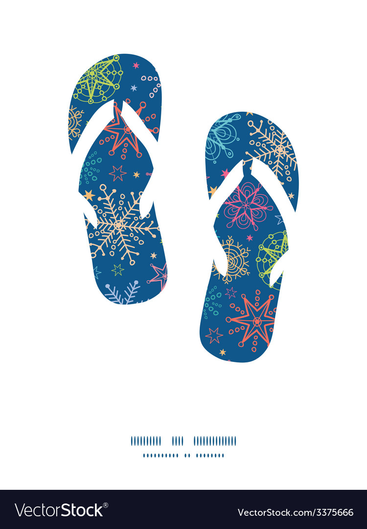 Colorful doodle snowflakes flip flops silhouettes vector | Price: 1 Credit (USD $1)
