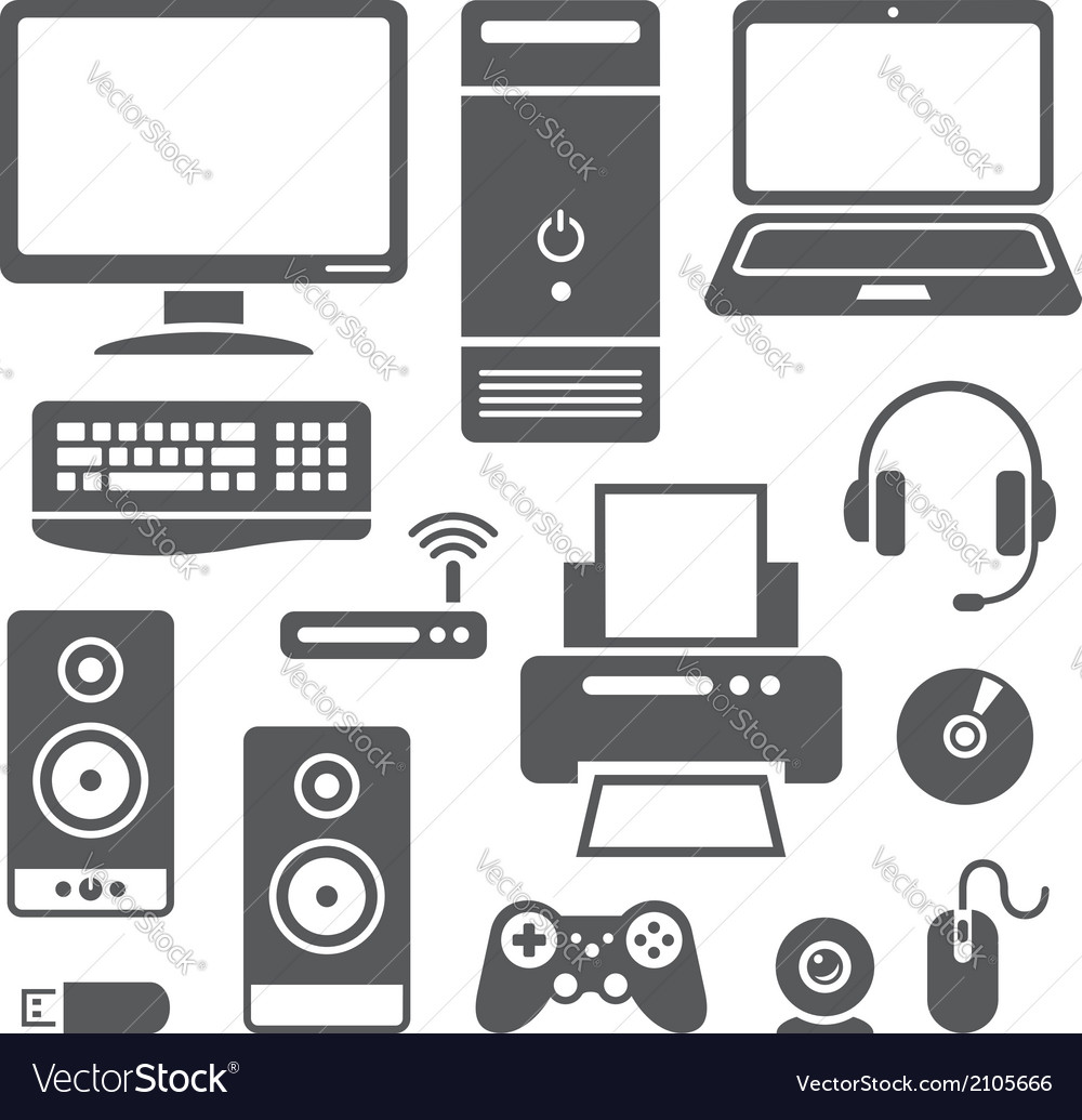 Computer devices icons vector | Price: 1 Credit (USD $1)