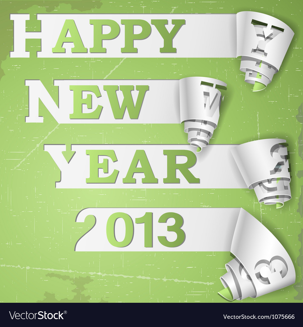 Happy new year curled strips on grunge paper vector | Price: 1 Credit (USD $1)