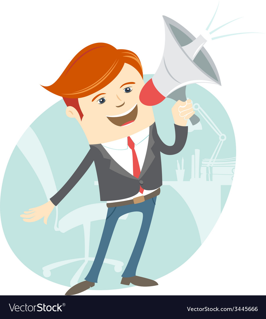 Office man megaphone shouting in front of his vector | Price: 1 Credit (USD $1)