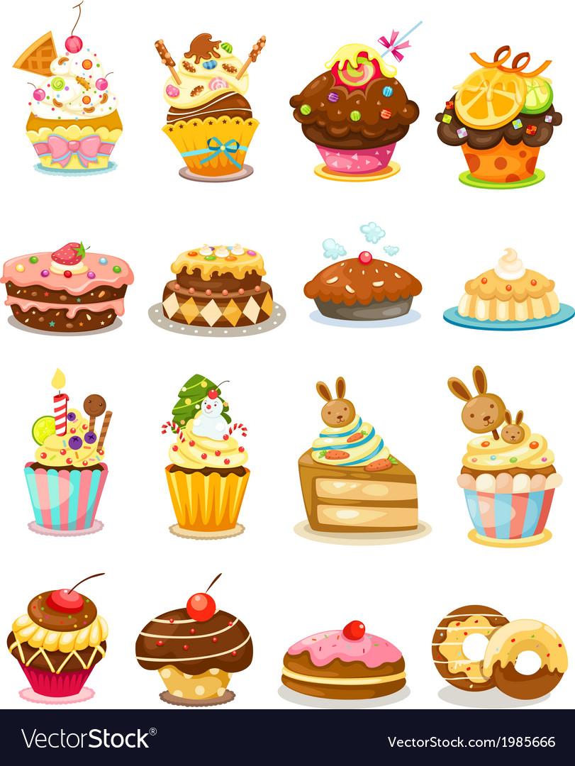 Set cupcake vector | Price: 1 Credit (USD $1)