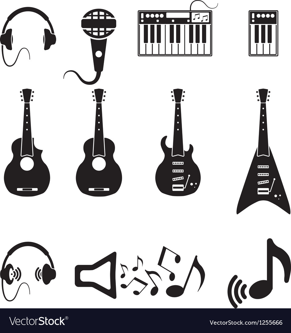 Set of black music icons vector   Price: 1 Credit (USD $1)