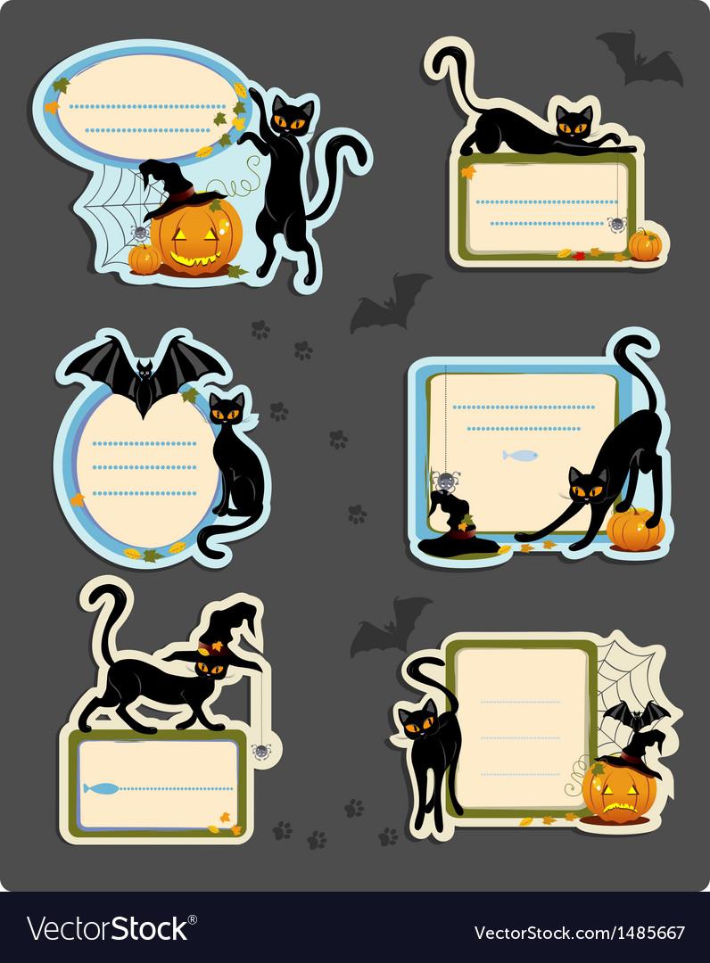 6 cat halloween labels vector | Price: 1 Credit (USD $1)