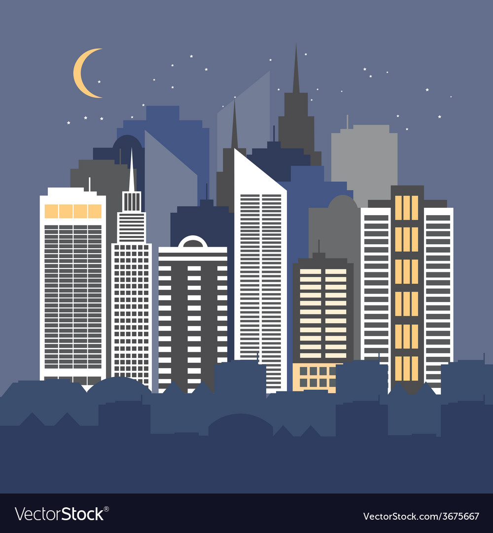 A city at night vector | Price: 1 Credit (USD $1)
