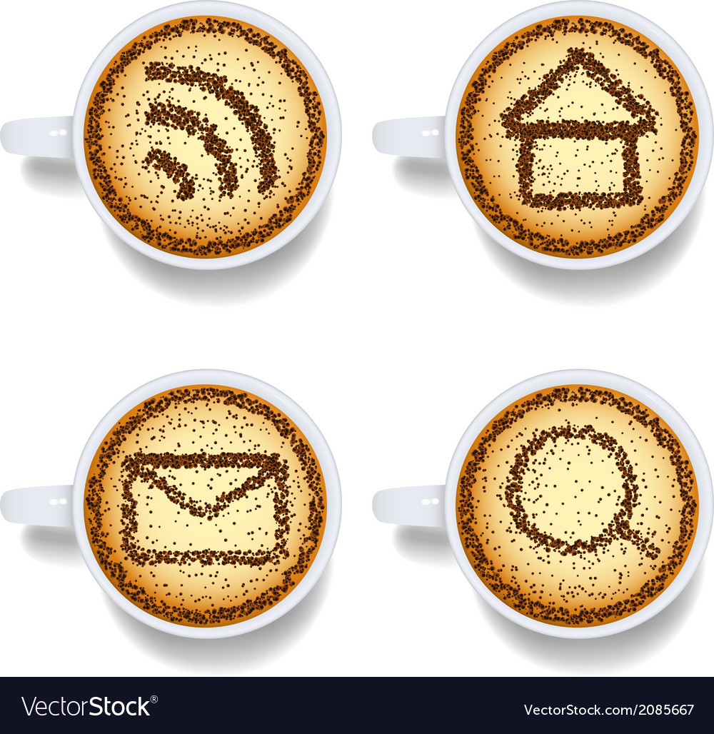 Cappuccino with web icons vector | Price: 1 Credit (USD $1)