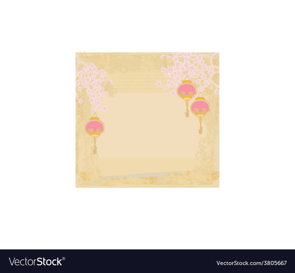 Chinese new year with lanterns card vector   Price: 1 Credit (USD $1)