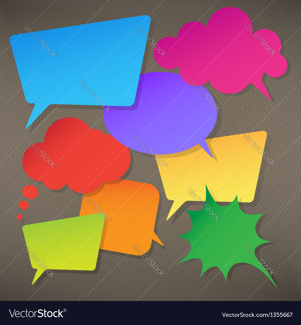 Colorful speech bubbles round and square vector | Price: 1 Credit (USD $1)