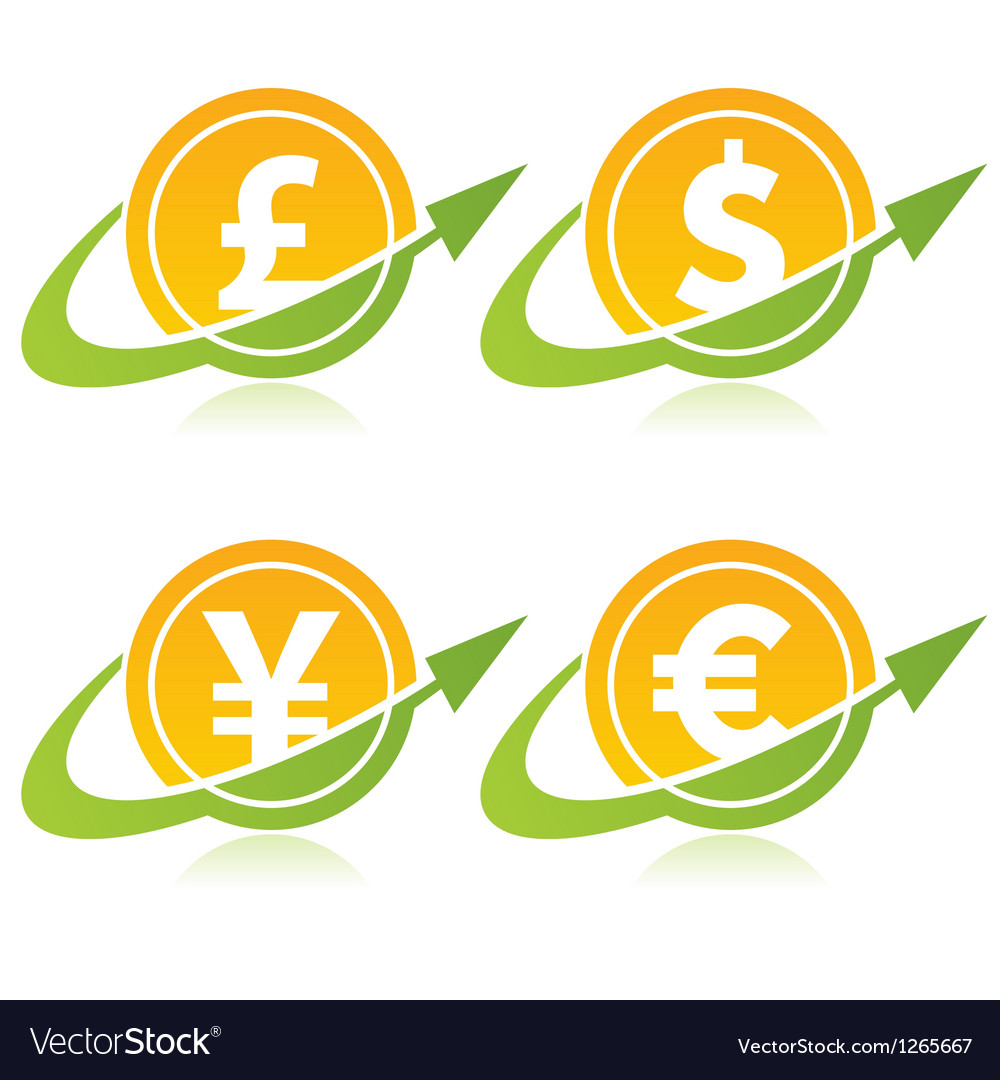 Currency coins with arrows vector | Price: 1 Credit (USD $1)