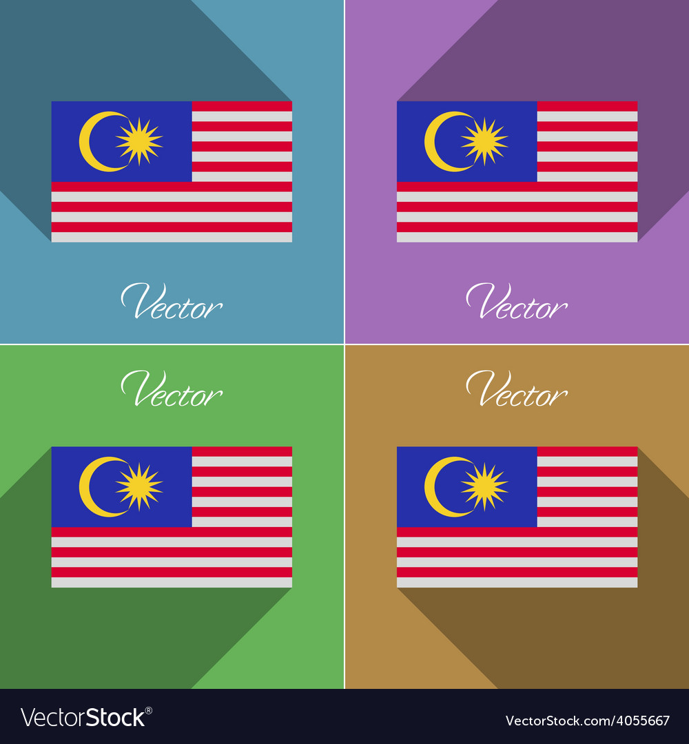 Flags malaysia set of colors flat design and long vector | Price: 1 Credit (USD $1)