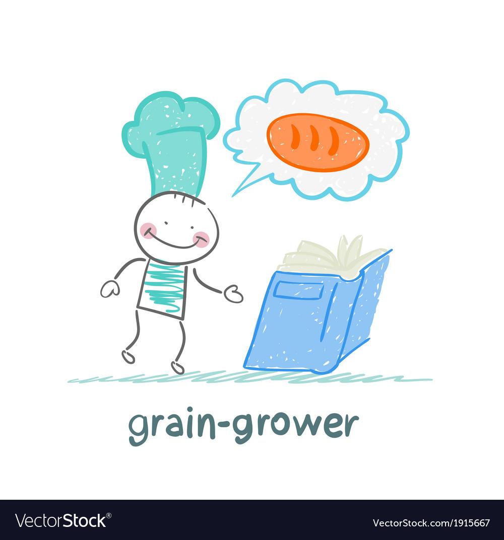 Grain grower looks at the conveyor rolls vector | Price: 1 Credit (USD $1)