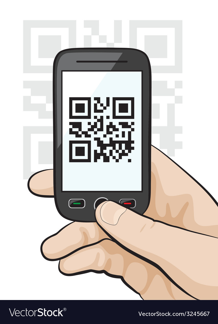 Mobile phone scanning qr code vector | Price: 1 Credit (USD $1)