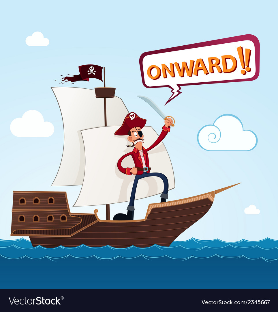 Pirate on a sailing ship vector | Price: 1 Credit (USD $1)