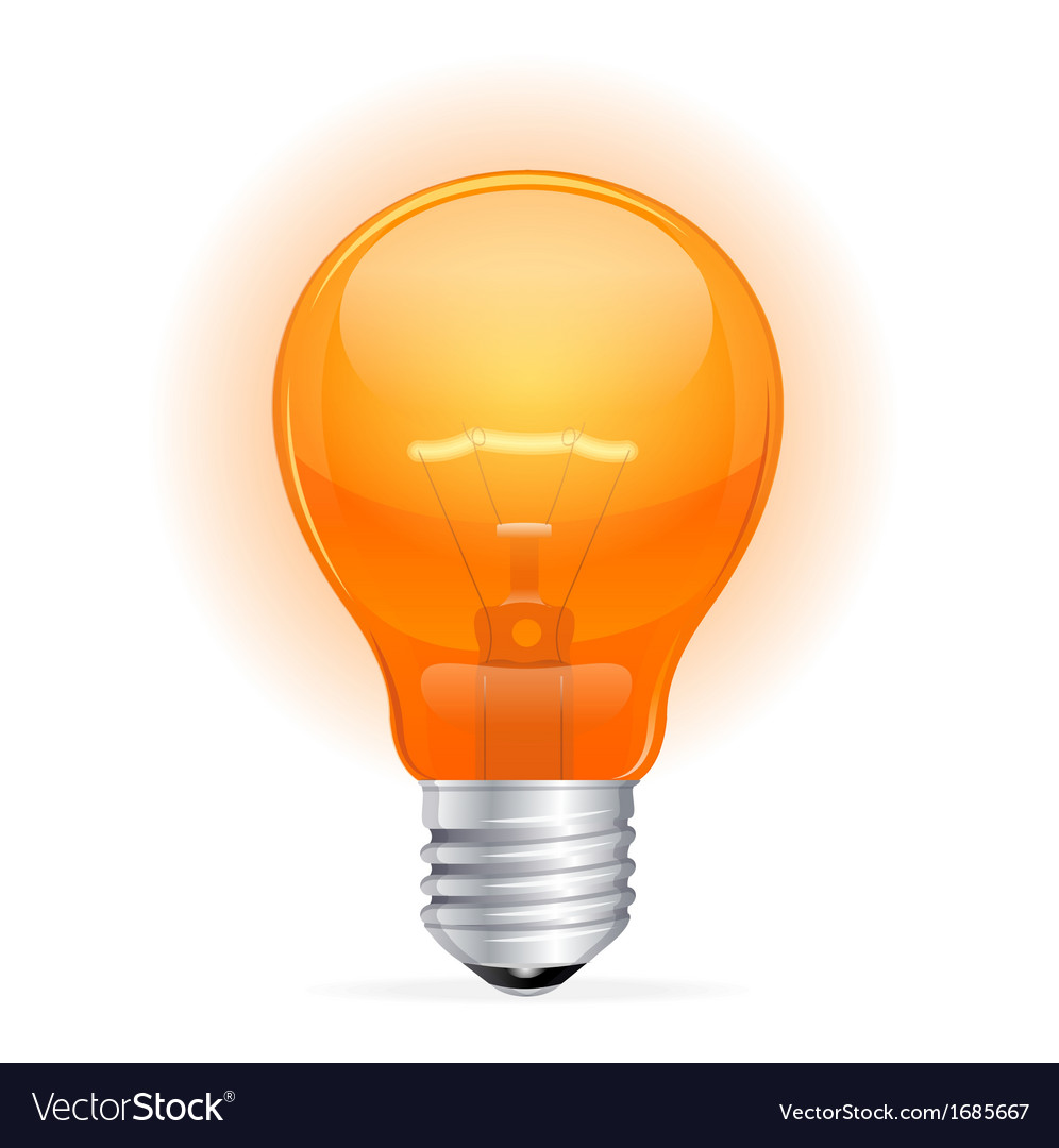 Red light bulb isolated on white vector | Price: 1 Credit (USD $1)