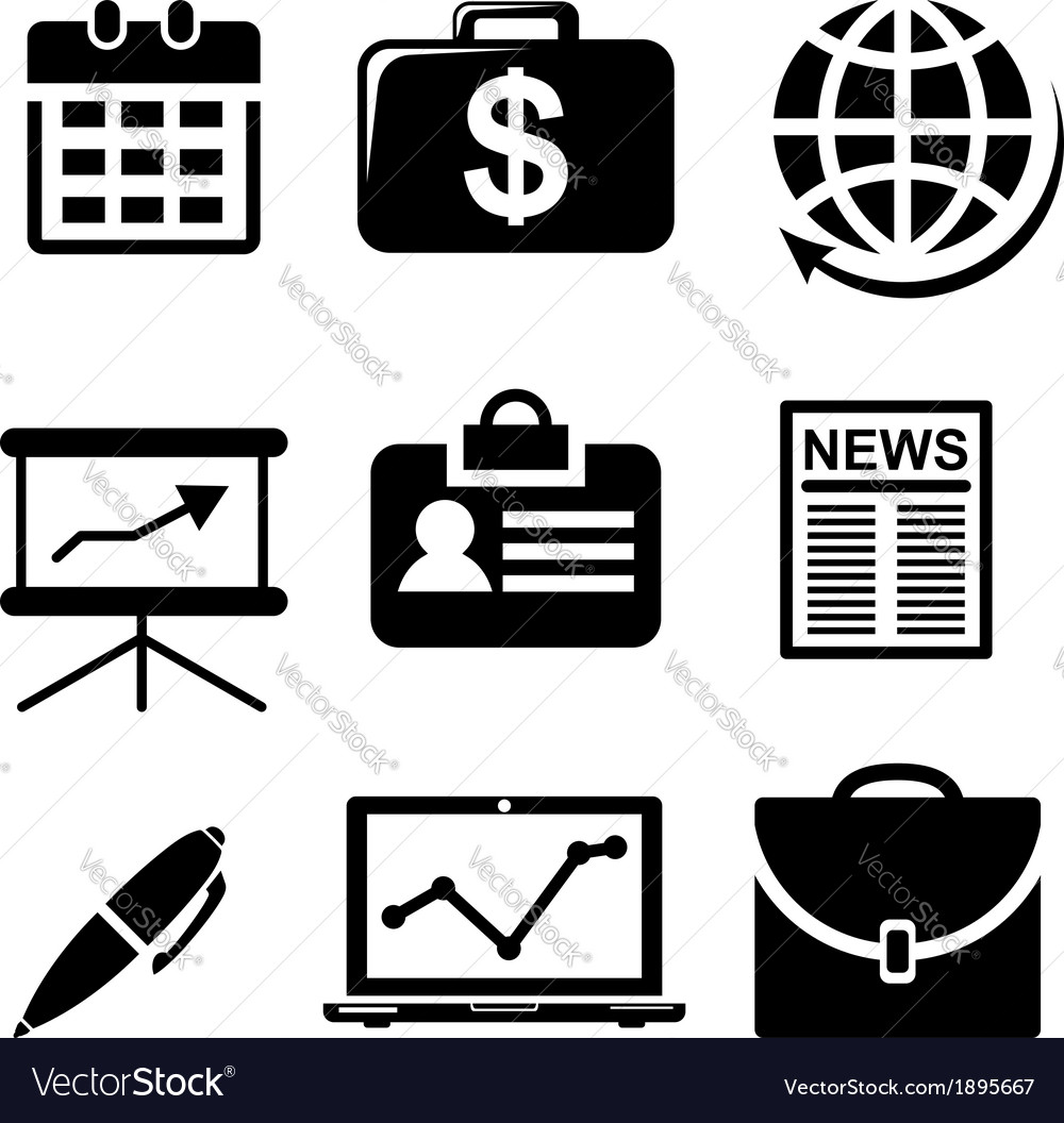 Set of black and white business icons vector | Price: 1 Credit (USD $1)