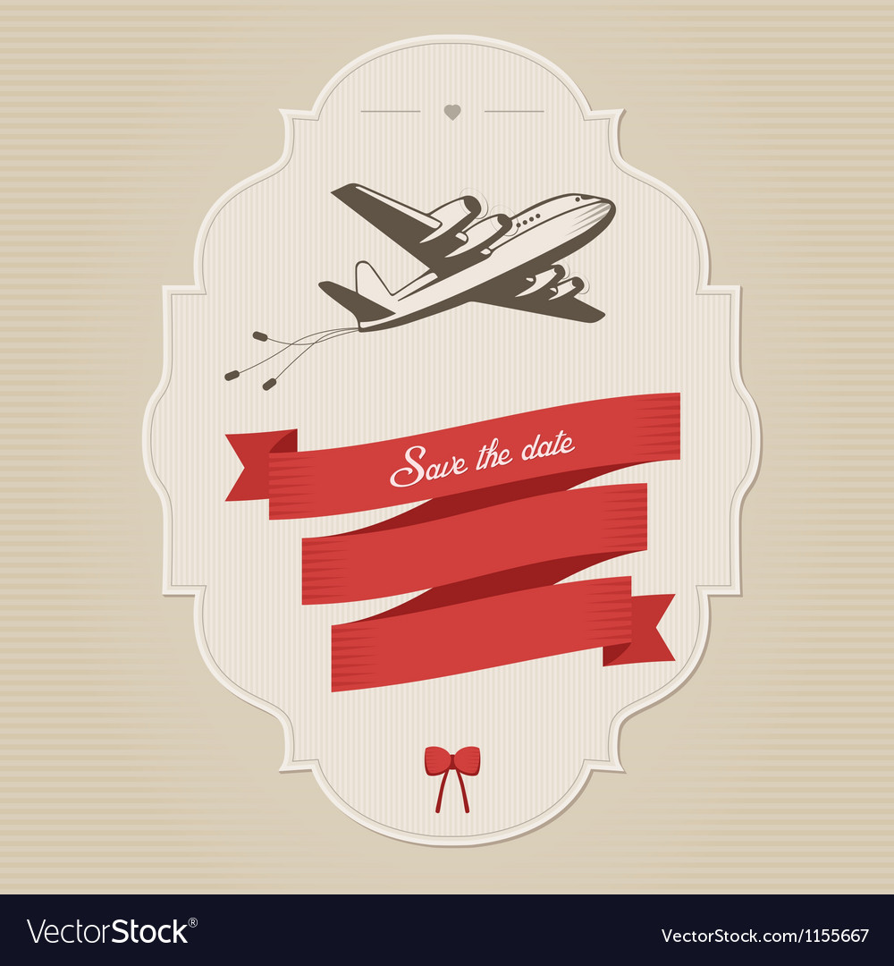 Vintage wedding invitation with retro aircraft vector | Price: 1 Credit (USD $1)