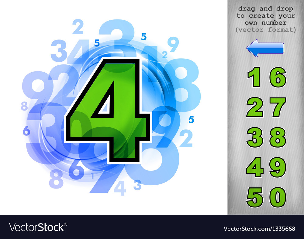 Abstract numbers blue with green vector | Price: 1 Credit (USD $1)