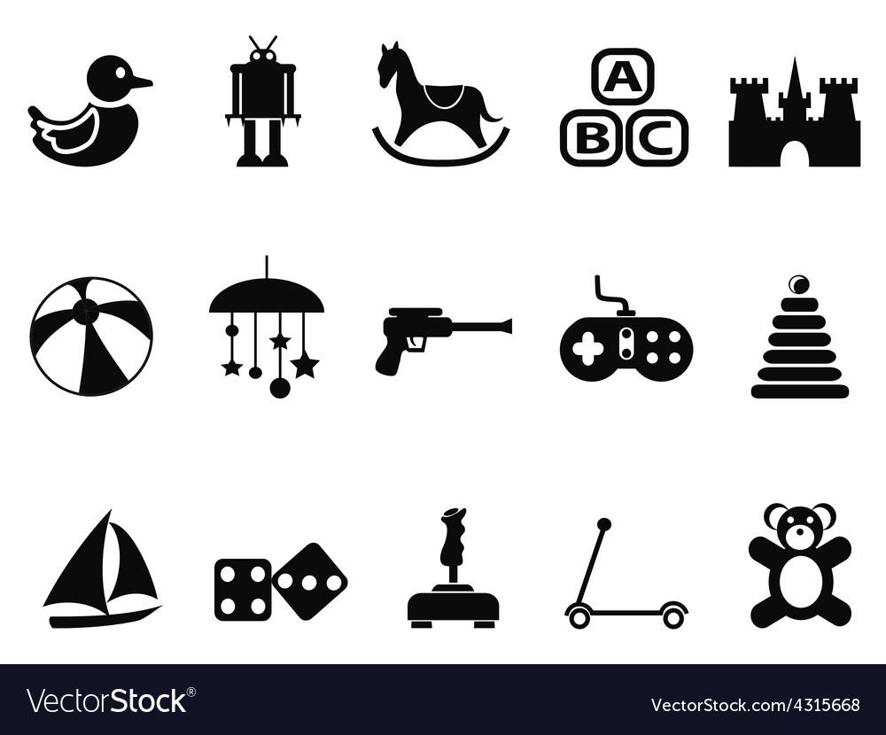 Black toy icons set vector | Price: 1 Credit (USD $1)
