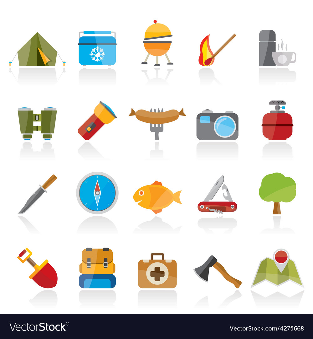 Camping travel and tourism icons vector | Price: 1 Credit (USD $1)
