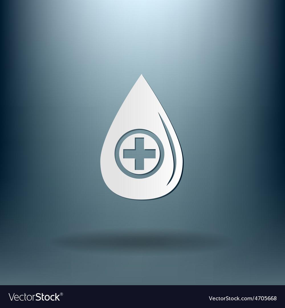 Drop with a cross medical symbol of liquid vector | Price: 1 Credit (USD $1)