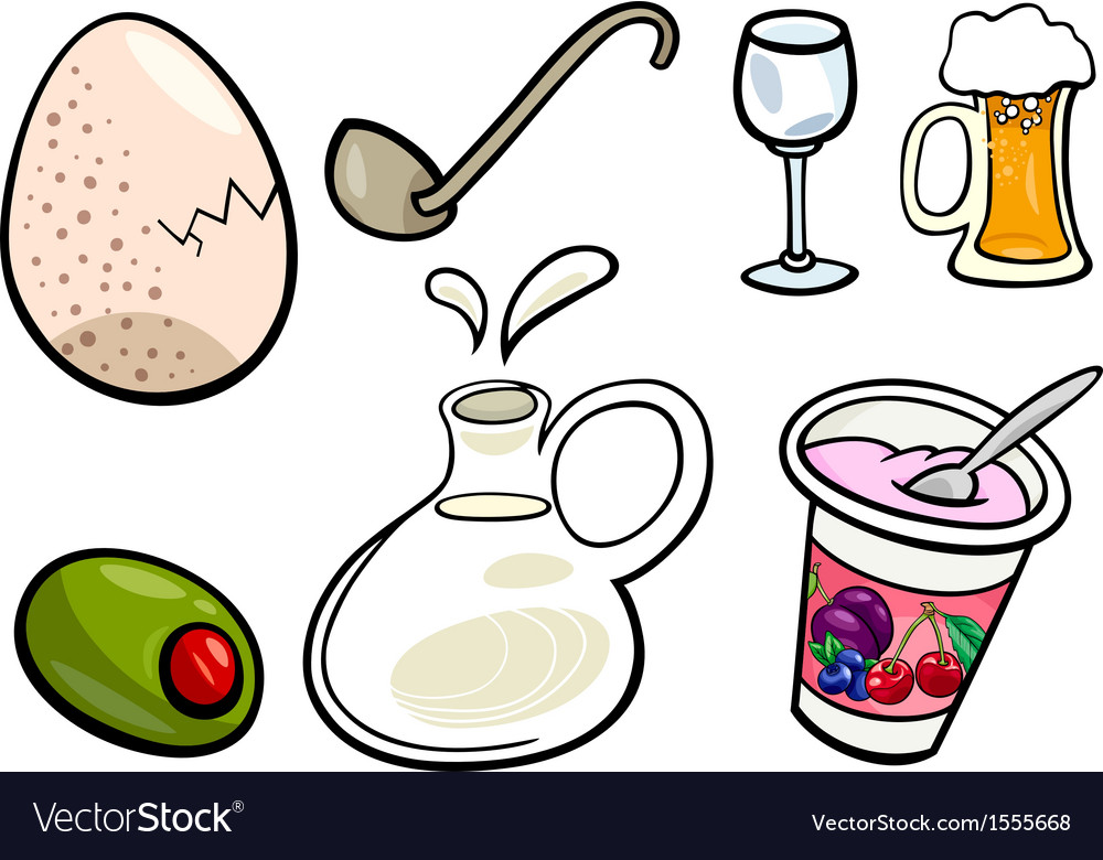 Food objects cartoon set vector | Price: 1 Credit (USD $1)