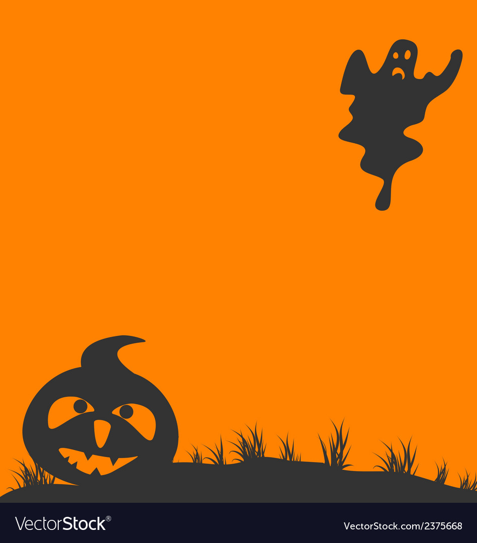 Halloween background with pumpkin and ghost vector | Price: 1 Credit (USD $1)