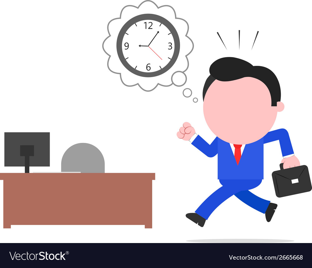 Late businessman rushing to desk vector | Price: 1 Credit (USD $1)
