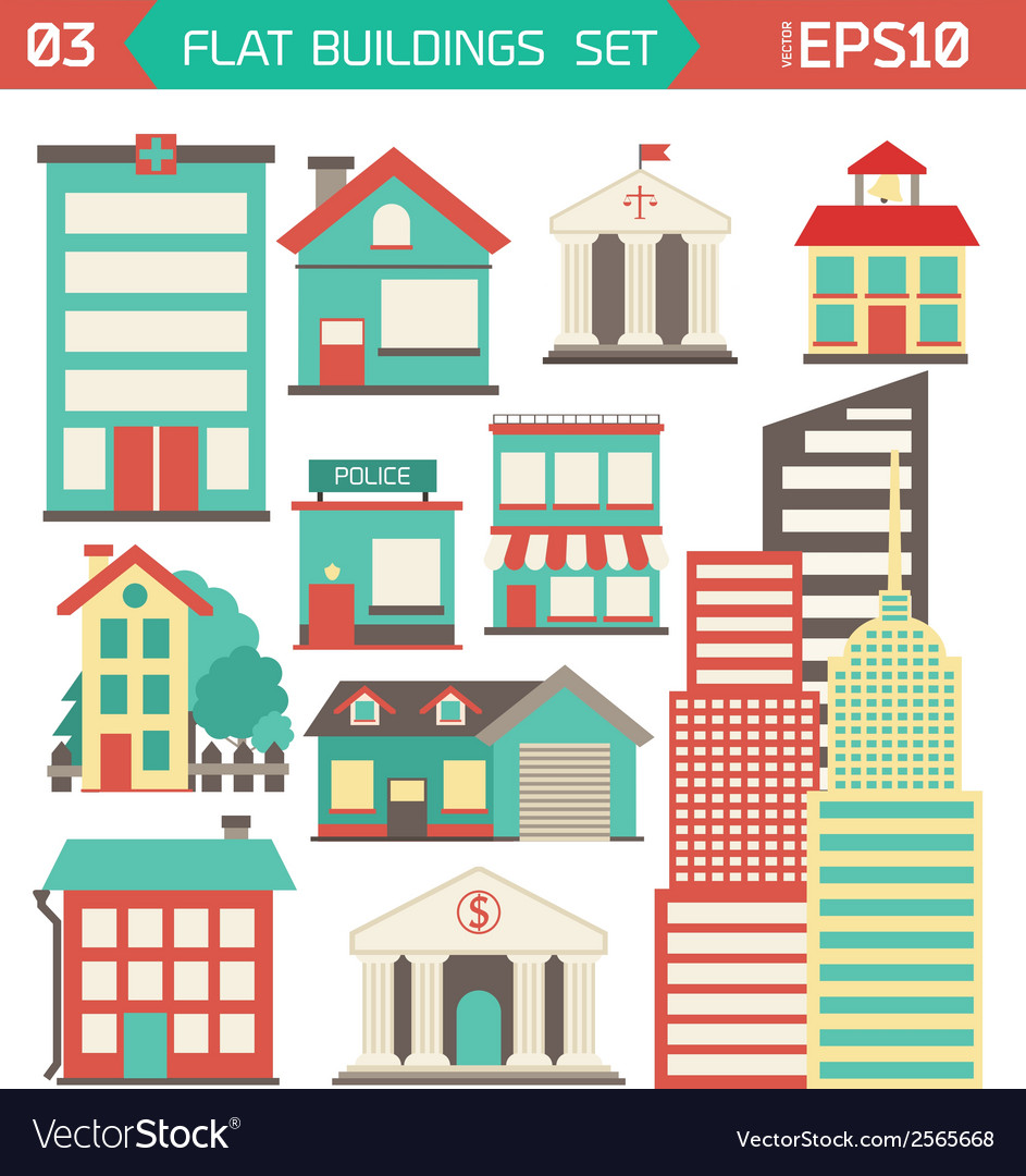 Modern flat buildings set vector   Price: 1 Credit (USD $1)